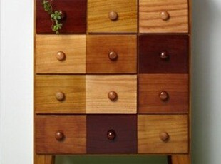 越茂七彩实木收纳柜 斗柜实木 储物柜床头柜日式柜梳妆台柜类特价,收纳柜,