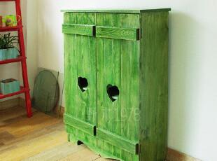 实拍!地中海实木家具 绿岛下午茶爱心鞋柜 边柜 柜子【预定】00,收纳柜,