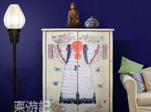 【东游记.出口家具】新中式 手绘图案斗柜/立柜/储衣柜,收纳柜,