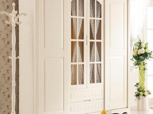 韩式田园风格家具四门衣柜实木衣柜简便衣柜简易木质衣柜yg906,收纳柜,