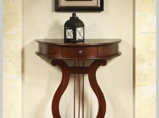 美式玄关桌琴弦桌咖啡桌沙发边桌边几角几茶几电话桌半圆桌实木,收纳柜,