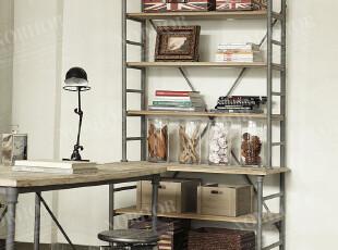 帕古达经典咖啡实木家具/美法式乡村工业风loft/白橡木铁艺书架,收纳柜,