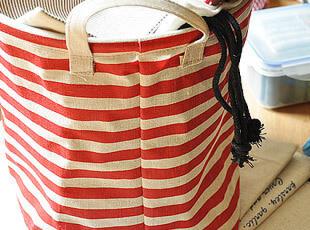 zakka 杂货 麻质收纳筐 收纳桶 收纳箱 双耳储物筐 2色条纹,收纳箱,