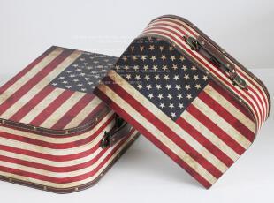 六拾六空间 美国国旗收纳箱 精品装饰用手提箱 大小两号选,收纳箱,