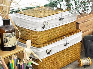 纯手工 海草编 收纳箱 衣物毛巾收纳盒 整理箱 布艺花边有盖 2色,收纳箱,