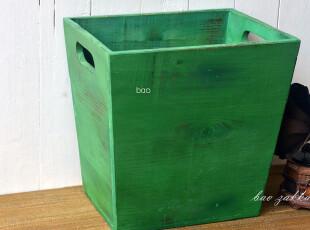 Bao ZAKKA 日单 旧木 古绿色 双提孔 大号 收纳箱 杂志收纳09103L,收纳箱,