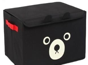 创意卡通小黑熊收纳箱整理箱/盒 整理柜子 有盖手提款 大号防潮,收纳箱,