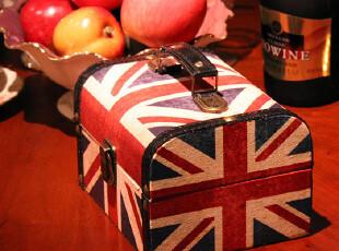 包邮!英国米字旗 复古木制皮革手提 收纳盒化妆盒收纳箱,收纳箱,