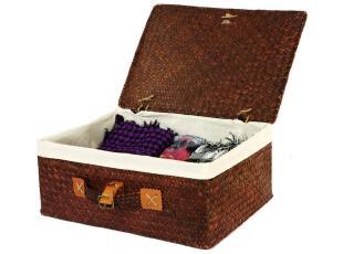 叠趣 草编内衣袜子收纳盒衣服物收纳箱整理储物箱 大号有盖 包邮,收纳箱,