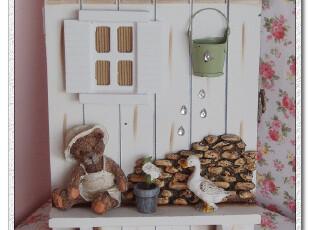 彩绘乡村田园家居 实木壁饰 壁挂锁盒 钥匙盒 收纳箱 杂物盒 小熊,收纳箱,