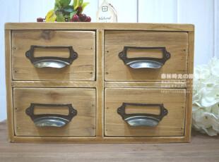 ZAKKA复古木质旧木四格收纳盒收纳箱,收纳箱,