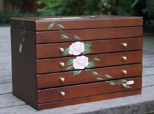 手绘花朵 胡桃木色 木制五层 首饰盒/收纳箱  饰品盒(粉玫),收纳箱,