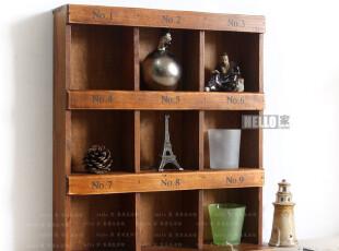 ZAKKA杂货 做旧复古实木柜展示格 杂物收纳柜收纳箱 九格木盒,收纳箱,