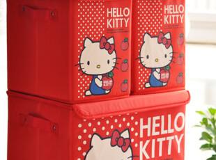 日本订单 hello kitty红色魔术贴 防尘 置物箱 收纳箱 特!,收纳箱,