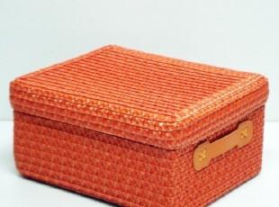外贸 非藤柳编精致PVC编织收纳盒 带盖收纳箱 家居储物盒杂物整理,收纳箱,