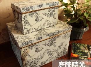 【庭院时光】法式乡村怀旧杂货之复古铁皮收纳箱和收纳盒两件套,收纳箱,
