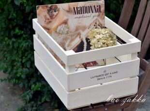 BAO ZAKKA 自然风旧木 丝印超大木箱 5面3块板 收纳箱 水洗白,收纳箱,