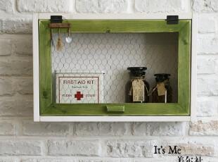田园实木收纳箱 壁挂 储物箱 家用医药箱 厨房收纳箱 搁架储物架,收纳箱,