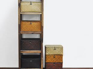 纯手工 海草编 收纳盒 衣物收纳箱 整理箱 储物箱 四方有盖 4色,收纳箱,