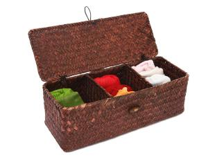 叠趣 草编衣物收纳箱 收纳盒 zakka内衣袜子收纳储物整理箱 有盖,收纳箱,