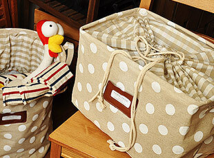 zakka 杂货 田园风 复古水玉 抽绳 收纳筐 收纳箱 整理箱 脏衣篓,收纳箱,