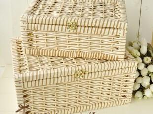 zakka杂货 带盖 编织筐 衣服 整理箱 收纳箱 草编筐 两件套,收纳箱,