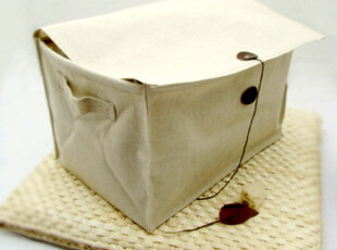 日式简约加厚帆布包 杂物箱 收纳筐 收纳箱 杂物盒 整理箱(大),收纳箱,