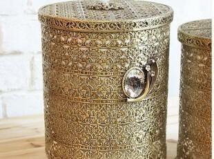 现货 韩国进口 复古梳妆台式古铜色装饰垃圾桶筒/收纳箱 收纳桶,收纳箱,