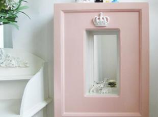 『韩国网站代购』公主皇冠 精致木质壁挂收纳箱 带镜子,收纳箱,