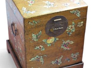 仿古 手绘 蝴蝶 鎏金漆 香樟木储物箱 收纳箱,收纳箱,