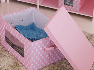 公主粉色收纳盒圆点方形 大号有盖视窗衣橱衣服收纳箱衣柜整理箱,收纳箱,