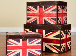 奇居良品 美克美家风乡村实木家具柜 威格林英国旗收纳箱茶几,收纳箱,
