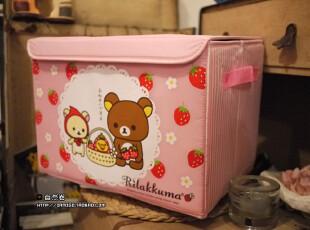 店庆特价!Rilakkuma轻松熊。粉色草莓收纳箱~两尺寸选,收纳箱,