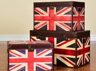 奇居良品 欧式美克美家风乡村实木家具柜 威格林英国旗收纳箱茶几,收纳箱,