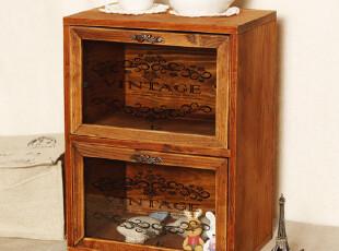zakka风格 复古做旧实木制 抽屉收纳箱 收纳柜 桌面整理 杂货,收纳箱,