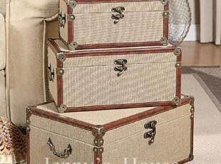 美式乡村复古怀旧家居软装饰品 木质麻布套三储物收纳箱 可立特,收纳箱,