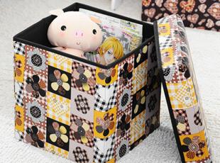 仿皮革正方形可折叠收纳凳 储物凳 衣物收纳箱 杂物整理箱,收纳箱,