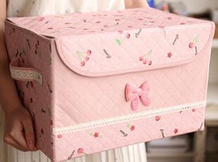 满就包邮 衣物收纳盒 田园风 大号收纳箱整理箱 可折叠书本收纳盒,收纳箱,