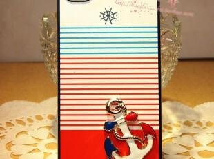 iphone4s 海军风小清新海盗情侣手机壳保护壳苹果4S手机保护彩壳,数码周边,