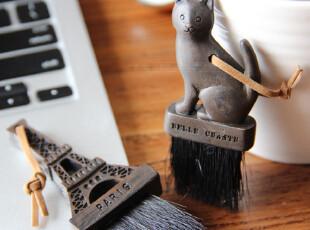 外贸 zakka 挂件 古董色复古猫咪艾菲尔铁塔树脂电脑键盘刷,数码周边,