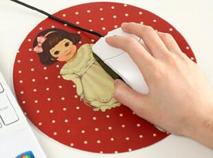 懒角落★日韩国 韩版 复古可爱 小女孩 圆形 防滑 鼠标垫 24172,数码周边,
