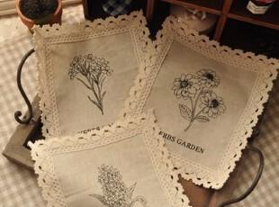 背景布拍照道具zakka棉麻复古印花蕾丝花边餐垫杯垫20*17.5cm,数码周边,