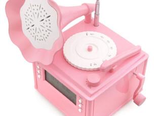 『韩国进口家居』mc1355 粉色留声机形状FM收音机带温度计,数码周边,