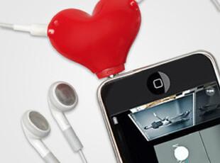 美国代购 苹果 Headphone Splitter爱心双头情侣耳机线,数码周边,
