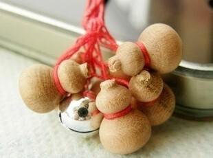 日本山樱花木 手工制造的木头葫芦手机链 5脏保护 无病息灾挂件,数码周边,