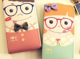 韩国happymori iphone 4/4s 情侣眼镜蝴蝶结配饰手机皮套 保护套,数码周边,