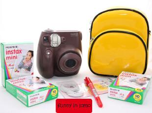 原装行货正品 富士mini7s 咖啡色 拍立得 3盒相纸+up包+自拍镜+笔,数码周边,