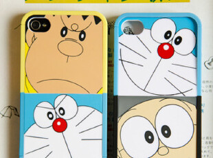 【满6件包邮】机器猫拼接-iphone4\4s硬壳 保护手机壳,数码周边,