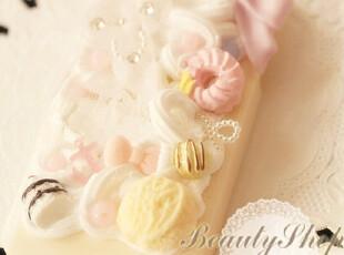 ♥日本进口材质  白色蕾丝猫咪 甜甜圈!iphone4/4S手机壳♥,数码周边,
