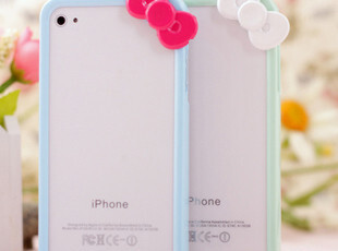 可爱卡通苹果4s手机壳套 蝴蝶结iphone4s边框保护套外壳 正品配件,数码周边,
